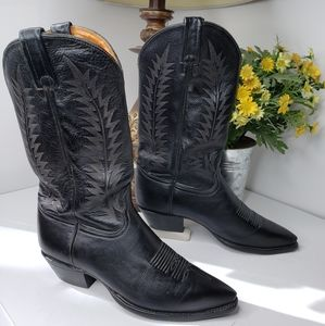 Tony Lama Black Leather Pull On Cowboy Boots 8.5M